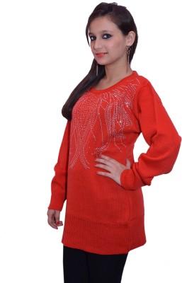 Lovanyaa Solid Round Neck Women's Orange Sweater