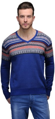 Tailor Craft Printed V-neck Casual Men's Blue Sweater
