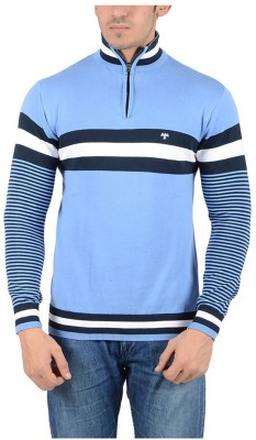 Reveller Striped Turtle Neck Casual Men's Light Blue Sweater