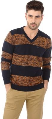Basics Striped V-neck Casual Men's Orange, Black Sweater