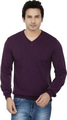Fizzaro Solid V-neck Casual Men's Purple Sweater