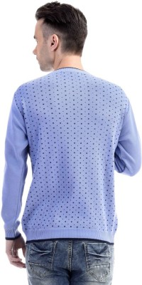 CLUB AVIS USA Printed Round Neck Casual Men's Light Blue Sweater