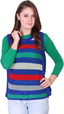 Miss Grace Striped Round Neck Casual Women's Green Sweater