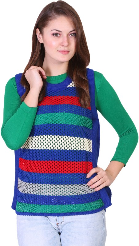 Miss Grace Striped Round Neck Casual Women Green Sweater