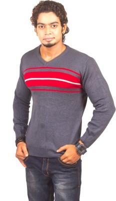 LIONEL Striped V-neck Men's Grey Sweater