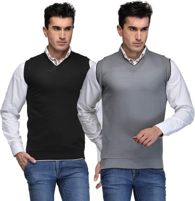 TSX Solid V-neck Casual, Party, Formal Men's Black, Grey Sweater