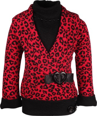 Cutecumber Animal Print Round Neck Party Girl's Red Sweater