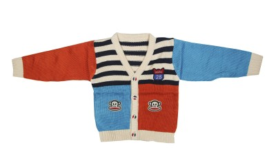 Camey Self Design V-neck Casual Baby Boys Multicolor Sweater