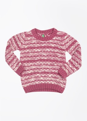 United Colors of Benetton Striped Round Neck Casual Girl's Pink, White Sweater