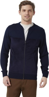 Peter England Solid Round Neck Casual Men's Dark Blue Sweater