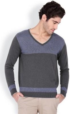 Blackberrys Solid V-neck Casual Men's Grey Sweater