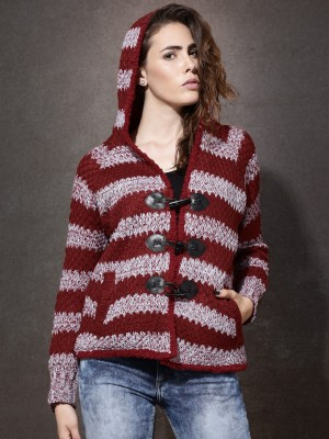 Roadster Self Design V-neck Casual Women's Red Sweater