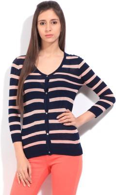 Lee Striped Casual Women's Dark Blue Sweater