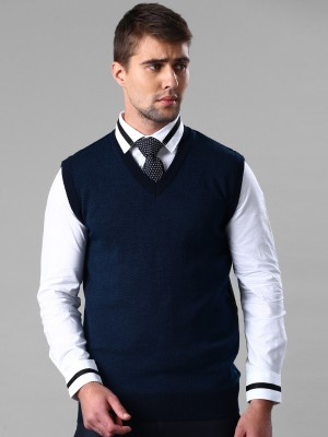 Invictus Self Design V-neck Casual Men,s Dark Blue Sweater
