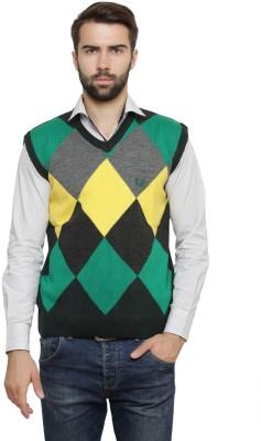 Leebonee Argyle V-neck Casual Men's Green Sweater
