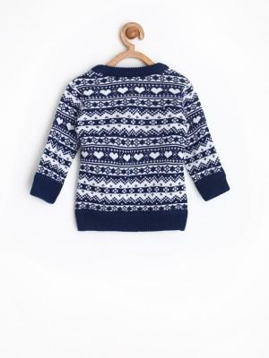 Yellow Kite Woven Round Neck Casual Baby Girl's Dark Blue Sweater