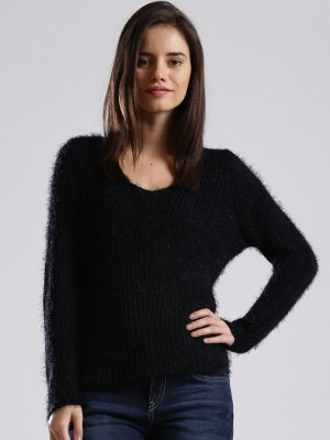 Dressberry Solid V-neck Casual Women's Black Sweater