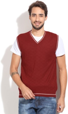 John Players Checkered V-neck Casual Men's Red Sweater
