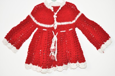 Batra Knitwears Woven Round Neck Baby Girl's Red Sweater