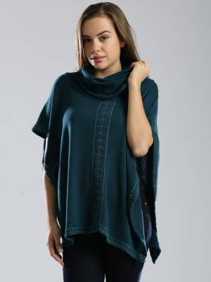 Dressberry Self Design Round Neck Casual Women's Blue Sweater