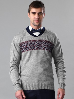 Invictus Self Design V-neck Casual Men,s Grey Sweater
