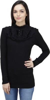 Camey Solid Round Neck Women's Black Sweater