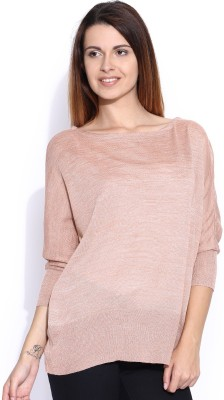 Mast & Harbour Self Design Round Neck Casual Women,s Pink Sweater