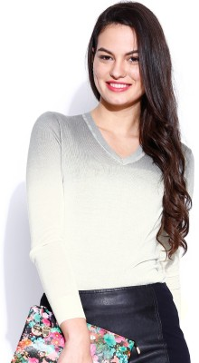 Dressberry Solid V-neck Casual Women's White Sweater