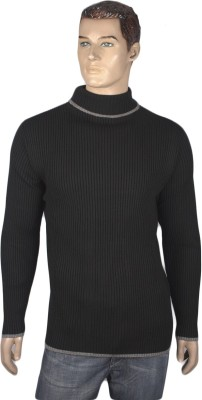 Nolex Self Design Turtle Neck Casual Men's Black, Grey Sweater