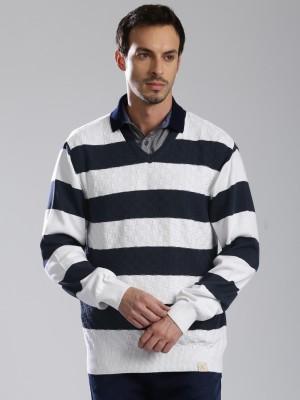 HRX by Hrithik Roshan Striped V-neck Casual Men Dark Blue, White Sweater