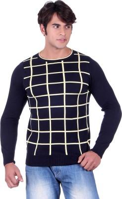 Ogarti Checkered Round Neck Casual, Party, Festive Men,s Dark Blue Sweater