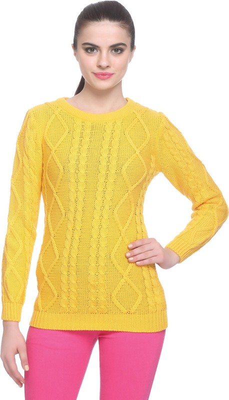 Miss Grace Self Design Round Neck Party Women Yellow Sweater