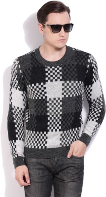 United Colors of Benetton Checkered Crew Neck Casual Men Black Sweater