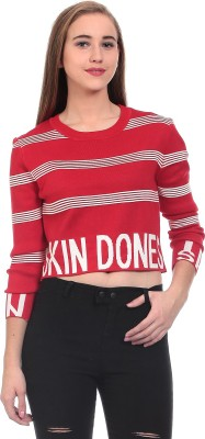 Claude 9 Striped Round Neck Women's Red Sweater