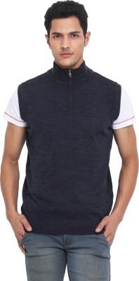 Northern Lights Solid V-neck Casual Men's Blue Sweater