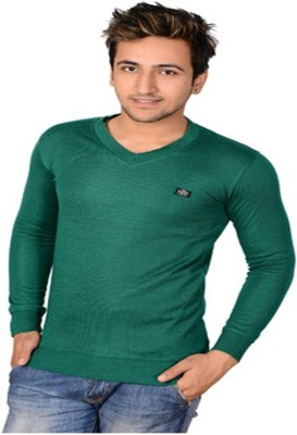 Buff Solid V-neck Casual Men's Green Sweater