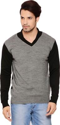 Northern Lights Solid V-neck Men's Grey, Black Sweater