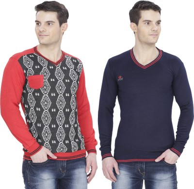 Alay Solid, Striped V-neck Casual, Party, Formal, Sports, Festive, Lounge Wear Men's Dark Blue, Red Sweater