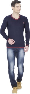 Alay Solid V-neck Casual Men's Dark Blue Sweater