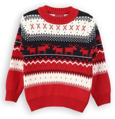 Lilliput Self Design Round Neck Boy's Red Sweater