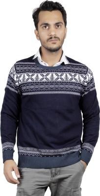 Numero Uno Self Design, Graphic Print Round Neck Casual Men's Blue, Grey Sweater