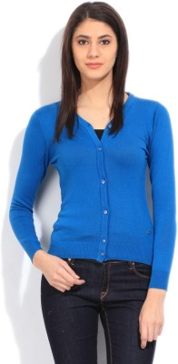 Wrangler Solid Casual Women's Blue Sweater