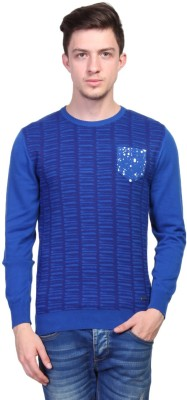 TSAVO Printed Round Neck Casual Men's Blue Sweater