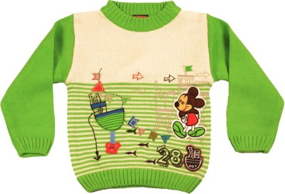 Kidax Striped, Embroidered Round Neck Casual, Festive, Party Boy's Light Green Sweater