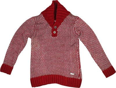 FS Mini Klub Printed Round Neck Casual Boy's Red Sweater