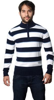 AMX Striped Turtle Neck Casual Men's Dark Blue, White, Light Blue Sweater