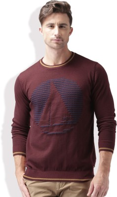 Mast & Harbour Self Design Round Neck Casual Men Maroon Sweater