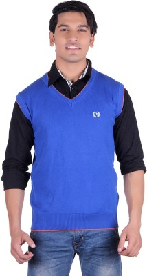Ogarti Solid V-neck Casual, Party, Festive Men's Blue Sweater