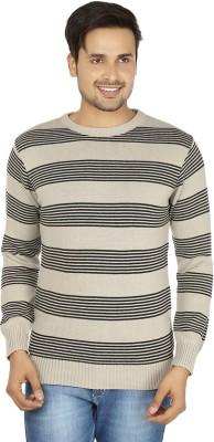 Fizzaro Striped Round Neck Casual Men's Beige, Black Sweater