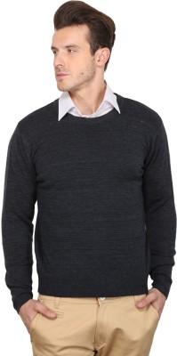 Northern Lights Solid Round Neck Men's Blue Sweater